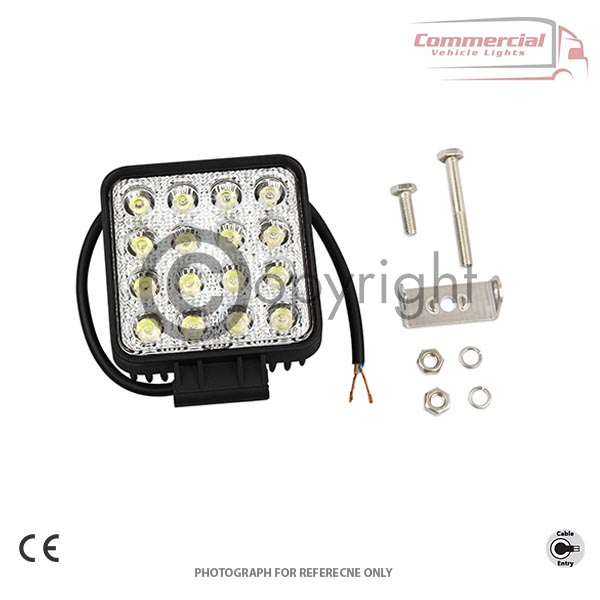 48W SQUARE 16 LED 12V/24V WORK FOG SPOT LIGHT