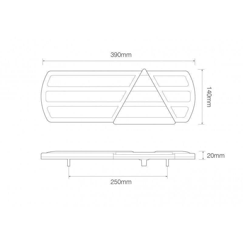 EU390LR2 Low Profile Truck / Trailer 6 Function Combination Lamps