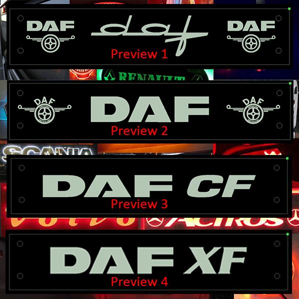 DAF LED WINDSCREEN SIGNS / PLEXIS 500x100mm x 1