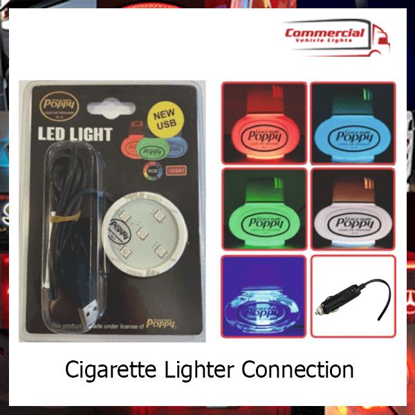 Gracemate Poppy Air Freshener LED RGB 7 Colour change Light (Cigarette Connection)