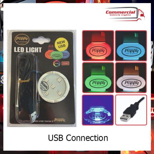 Gracemate Poppy Air Freshener LED RGB 7 Colour change Light (USB Connection)